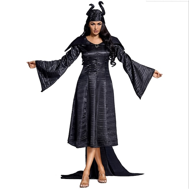 Witch Cosplay Costume Adults' Women's Halloween Halloween Halloween Festival / Holiday Terylene Black Women's Easy Carnival Costumes Solid Color / Dress / Headwear