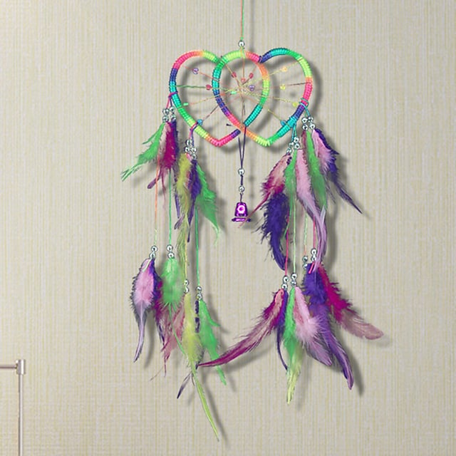 Double heart dream catcher colorful feather ornaments home decoration Indian dream catcher wall hanging