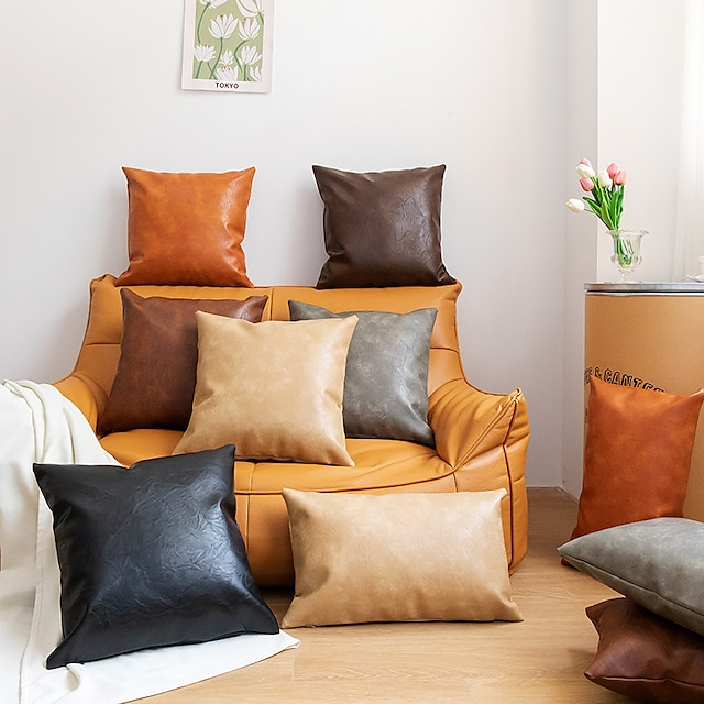 Nordic Simple Solid Color Double-sided Pu Imitation Leather Pillowcase 1 Piece Of Decorative Cushion Cover For Home Model Sofa