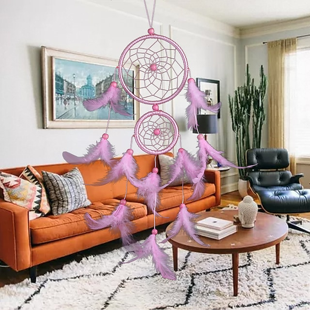 Simple modern dream catcher double ring wall decoration living room decoration pendant feather ornaments pendant