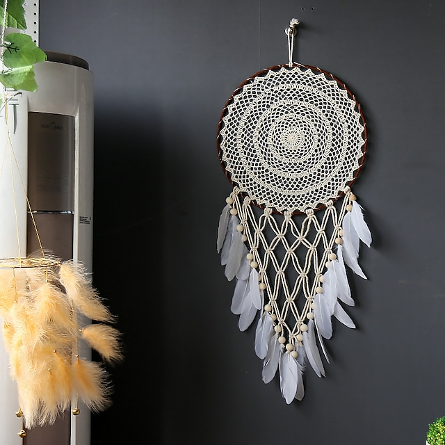 New hand-woven concentric circle dream catcher cotton rope iron circle feather 40CM wall wall decoration wholesale