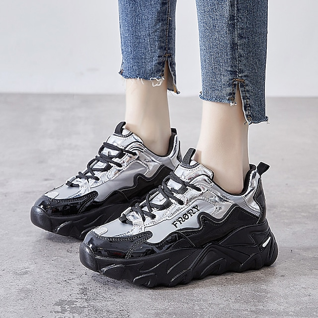 Women's Trainers Athletic Shoes Flat Heel Round Toe Booties Ankle Boots Daily Outdoor PU Solid Colored Black Silver