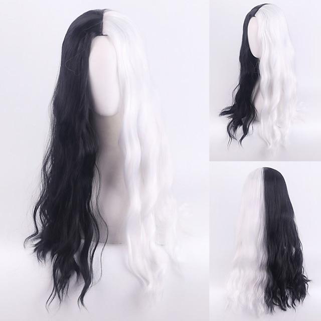 101 Dalmatians Cruella De Vil Cosplay Wigs Women's Middle Part / Heat Resistant Fiber Body Wave Black Adults' Anime Wig