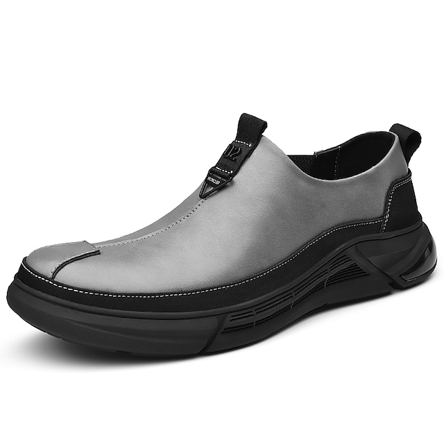 Men's Loafers & Slip-Ons Casual Vintage British Daily Office & Career Leather Gray Black Fall Spring