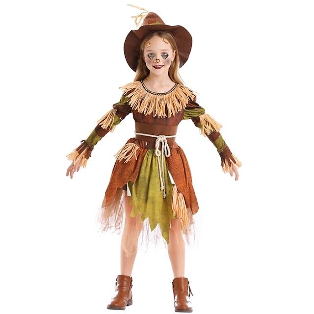Cosplay Cosplay Costume Adults' Girls' Halloween Halloween Halloween Children's Day Festival / Holiday Terylene Brown Easy Carnival Costumes Patchwork / Dress / Hat / Waist Belt