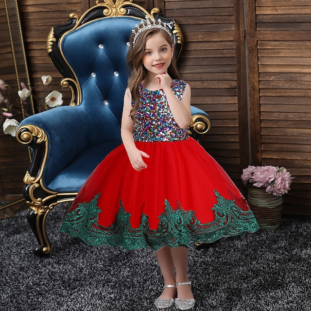 Princess Dress Party Costume Girls' Movie Cosplay Cosplay Costume Party Yellow Red Green Dress Christmas Halloween New Year Polyester