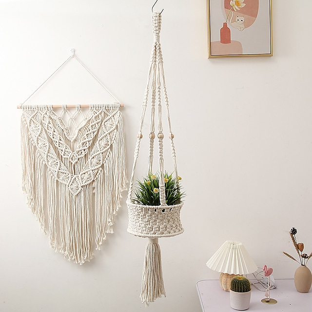 Hand Woven Macrame Flower Basket Pot Holder Bohemian Boho Art Decor Wall Hanging Home Bedroom Living Room Decoration Nordic Handmade Tassel Cotton