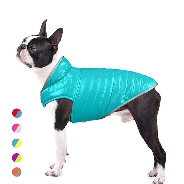 20 new pet clothes, dog clothes, light down and double-sided cotton-padded clothes, contrast color reflective small and medium-sized dog clothes
