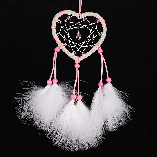 Pure white feather handwoven Dream Catcher home Decor Heart crystal maid room decor