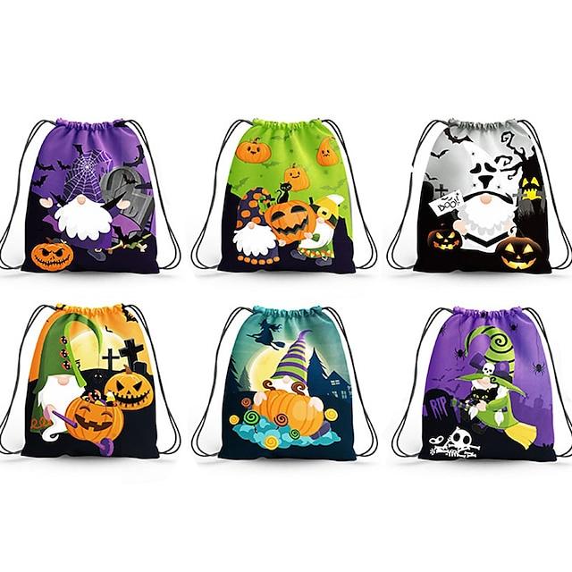 6 Pieces Kids Unisex Active Halloween / Festival Cartoon Print Polyester Bags Rainbow