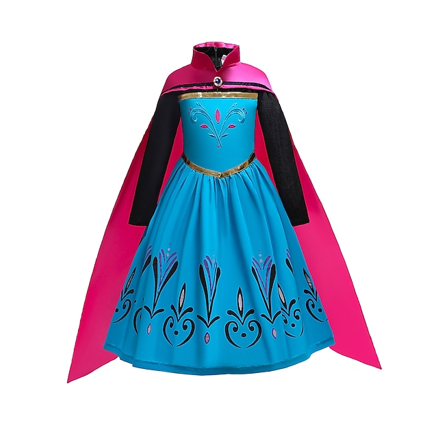 Princess Dress Party Costume Girls' Movie Cosplay Cosplay Costume Party Blue Dress Cloak Halloween New Year Masquerade Polyester