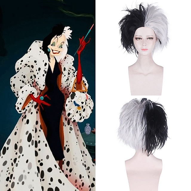 101 Dalmatians Cruella De Vil Cosplay Wigs Women's With Bangs 30 inch Synthetic Fiber Dry White Adults' Anime Wig / Wig Set