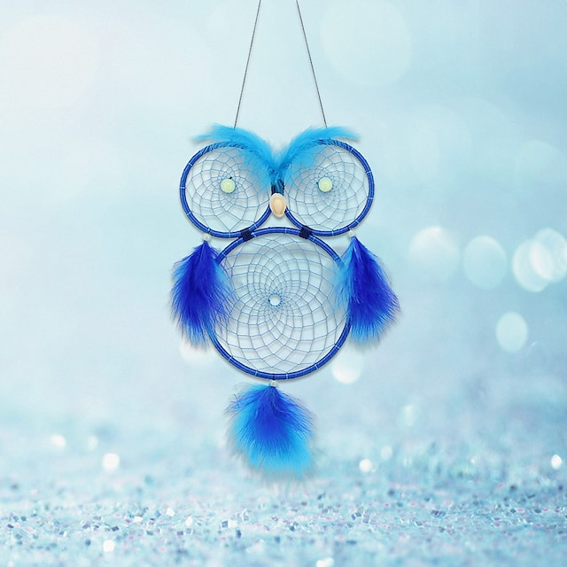 New dream catcher hanging decoration creative luminous beads owl dream catcher handmade feather wall decoration