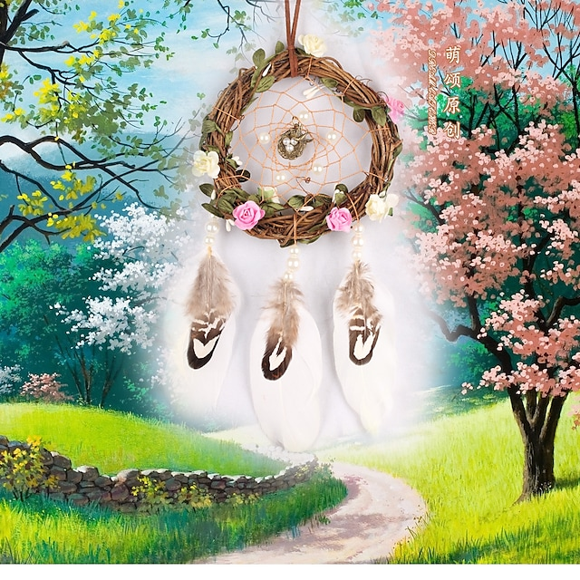 New creative grass rattan dream catcher home decoration natural feather wind chimes natural feather pendant