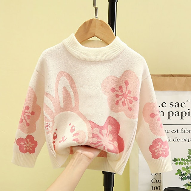 Toddler Girls' Sweater Long Sleeve Yellow Blushing Pink Beige Floral Rabbit Ruched Indoor Outdoor Active Daily 1-5 Years