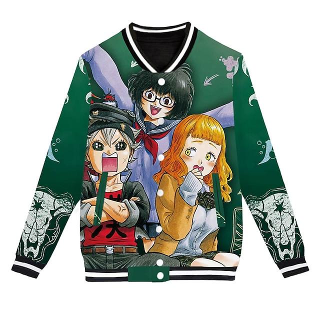 Inspired by Black Clover Asta Varsity Jacket Polyster Anime 3D Harajuku Graphic Coat For Men's / Women's