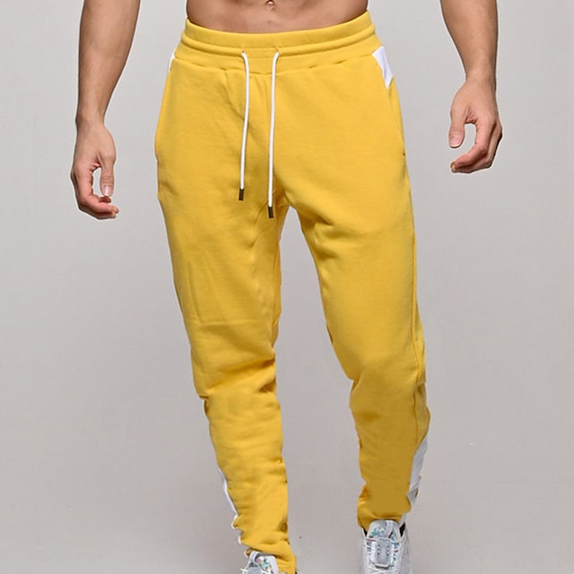 Men's Sweatpants Joggers Athletic Bottoms Drawstring Pocket Winter Fitness Workout Walking Jogging Training Lightweight Breathable Soft Normal Sport Solid Colored Yellow Gray Black Navy Blue