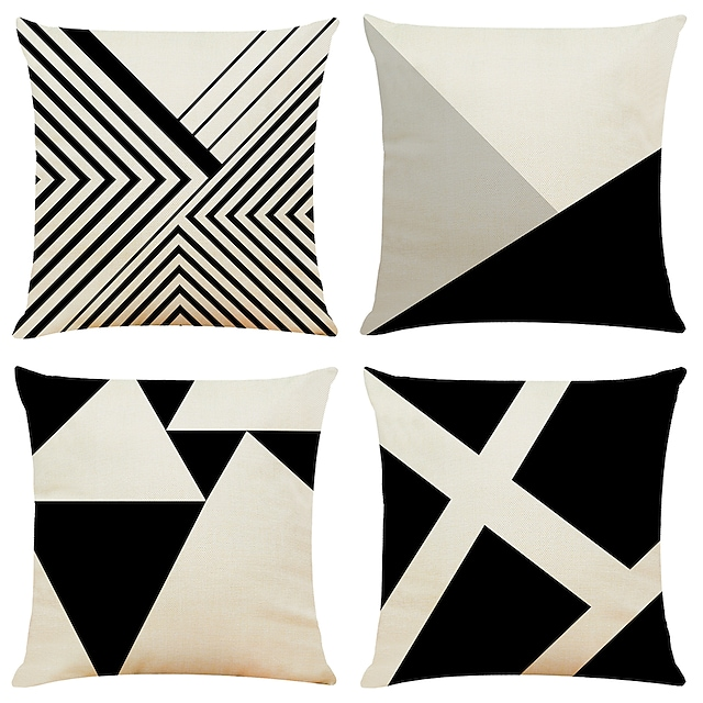 Geometric Double Side Cushion Cover 4PC Soft Decorative Square Throw Pillow Cover Cushion Case Pillowcase for Bedroom Livingroom Superior Quality Machine Washable Indoor Cushion for Sofa Couch Bed Chair