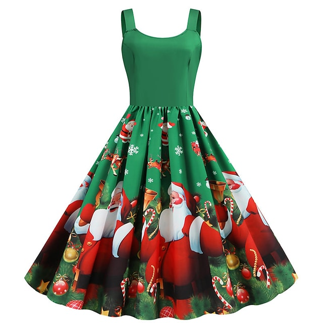Santa Suit Dress Adults' Women's Vintage Christmas Festival Christmas New Year Festival / Holiday Terylene Red+Black / Blue / Red Women's Easy Carnival Costumes Snowflake Reindeer