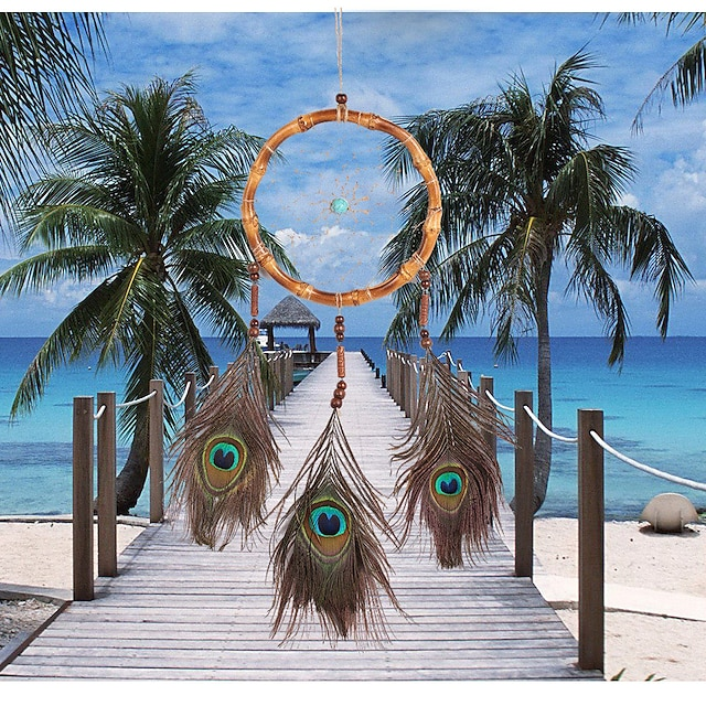 Retro style dream catcher natural bamboo circle peacock hair dream catcher house hanging ornaments dream chasers hanging ornaments