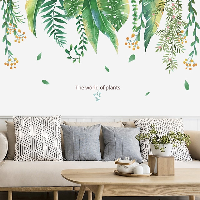 Floral Plants Wall Stickers Bedroom Living Room Removable Pre-pasted PVC Home Decoration Wall Decal 90*30CM 2pcs