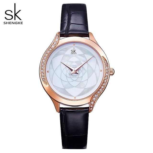 ShengKe Brand Women Watch Black Leather Rosegold Case Women's Wristwatch Luxury Ladies Crystal Dial Clock Relogio Feminino