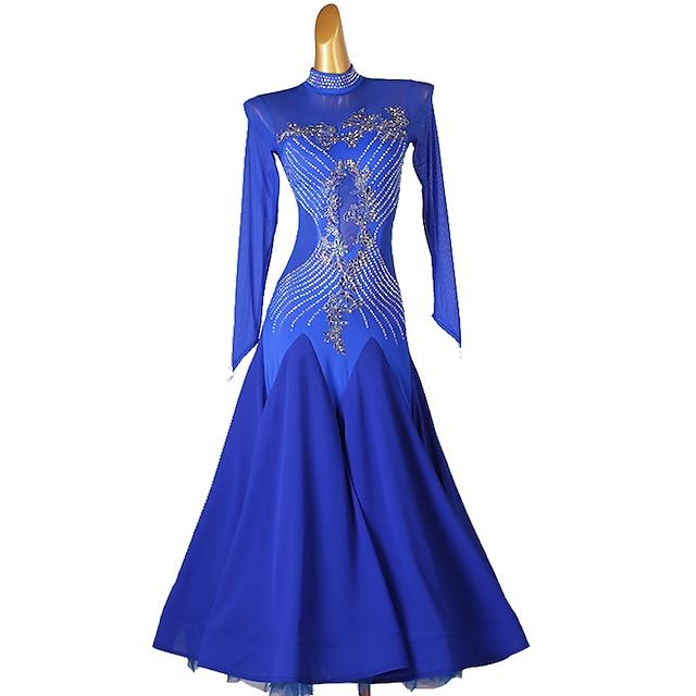 Ballroom Dance Dress Embroidery Splicing Crystals / Rhinestones Women's Performance Long Sleeve Chinlon Mesh Chiffon