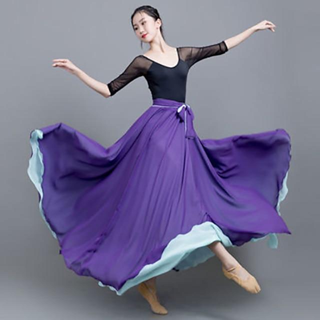 Ballet Skirts Solid Women's Performance Daily Wear High Chiffon