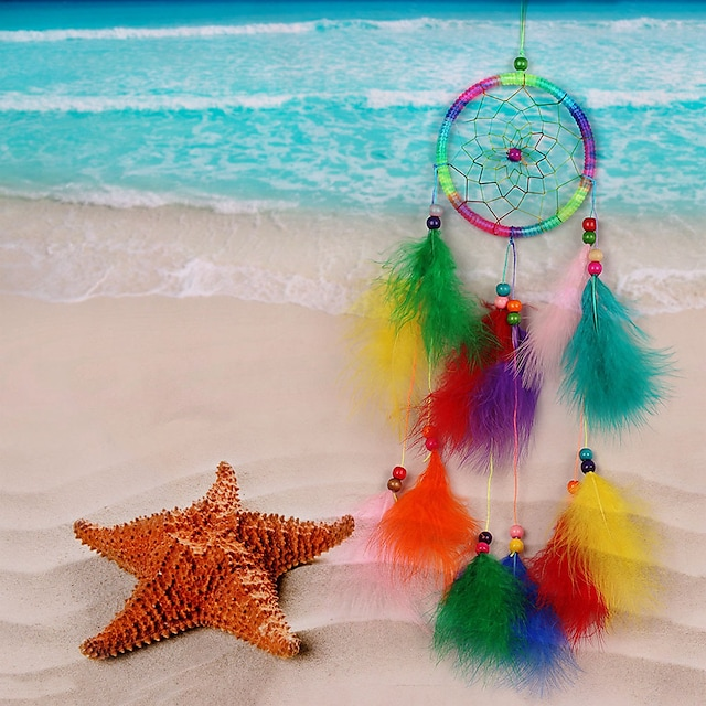 Dreamcatcher net handicraft home feather hangings pure hand-woven wind chimes room decorations