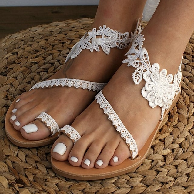 Women's Sandals Boho Bohemia Beach Flat Heel Open Toe Wedding Sandals Wedding Daily Beach Lace PU Lace White