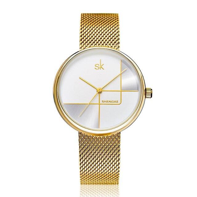 Shengke Gold Watch Women Watches Ladies Milan Mesh Steel Women's Bracelet Watches Female Clock Relogio Feminino Montre Femme