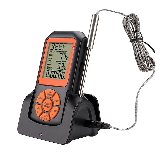 Remote Wireless Digital Kitchen Thermometer Temperature Gauge for Oven BBQ Grill Meat