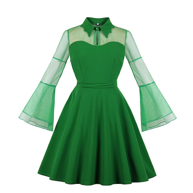 Vintage Dress Women's Spandex Costume Wine / Violet Pink / Green Vintage Cosplay Halloween Midi