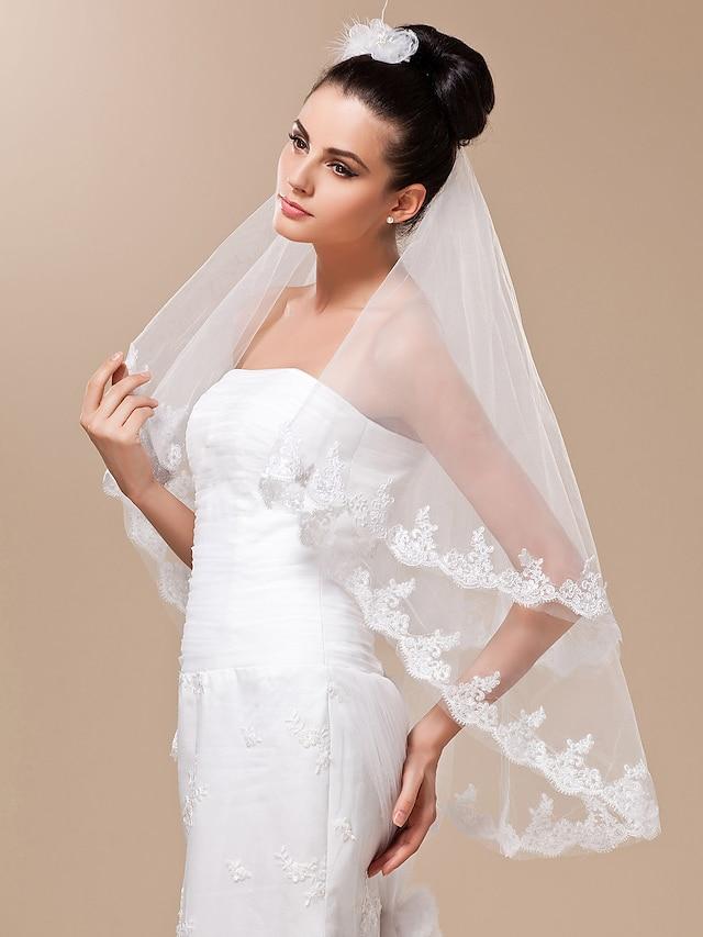 à deux vitesses voile de mariée en dentelle doigt appliques bord