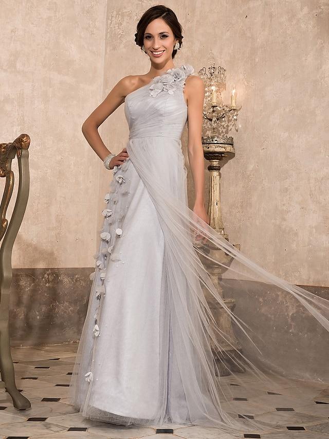 Ballkleid Elegant Vintage inspiriert Abiball Formeller Abend Militärball Kleid Ein-Schulter Boden-Länge Tüll mit Perlenstickerei Drapiert Seitlich drapiert 2021