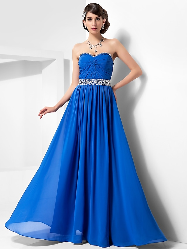 Ball Gown Open Back Prom Formal Evening Military Ball Dress Sweetheart Neckline Strapless Sleeveless Floor Length Chiffon with Criss Cross Beading Draping 2021