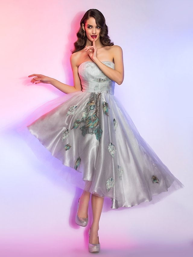 A-Line Strapless Asymmetrical Lace / Charmeuse / Tencel High Low Cocktail Party / Prom Dress with Appliques / Lace by TS Couture®