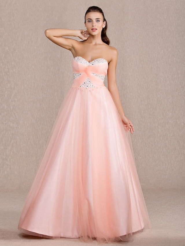 Ball Gown Open Back Quinceanera Prom Formal Evening Dress Sweetheart Neckline Sleeveless Floor Length Tulle with Criss Cross Beading 2021