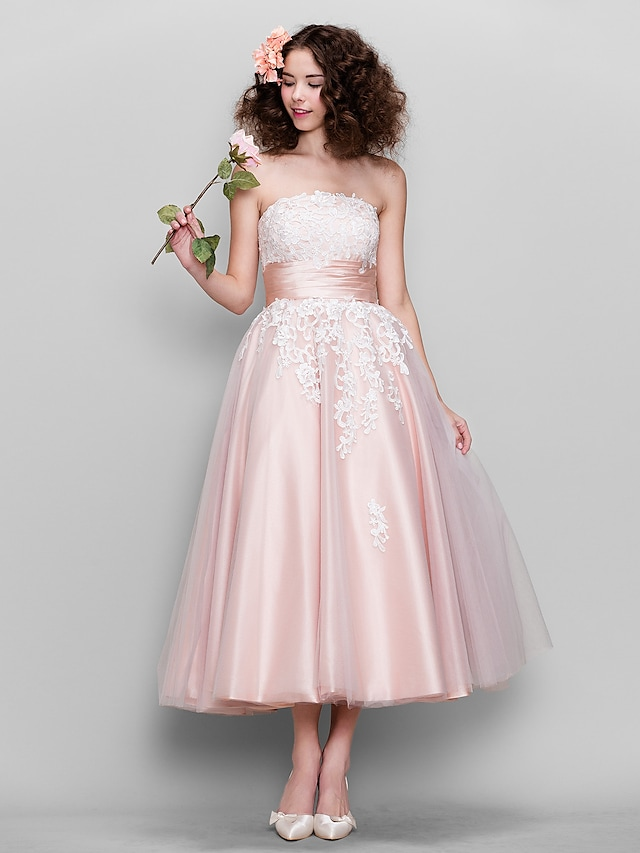 Ball Gown 1950s Wedding Guest Prom Dress Strapless Sleeveless Ankle Length Tulle Stretch Satin with Appliques 2021