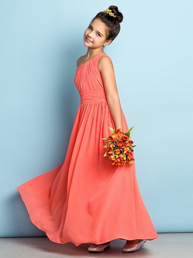 A-Line Ankle Length Junior Bridesmaid Dress Chiffon Sleeveless One Shoulder with Side Draping / Natural / Mini Me