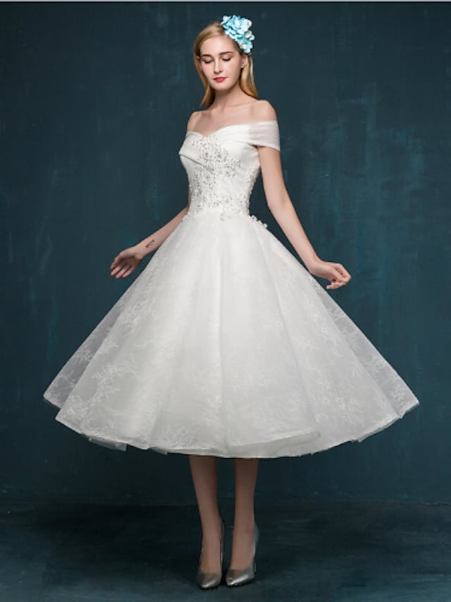 A-Line Wedding Dresses Off Shoulder Tea Length Beaded Lace Short Sleeve Casual Vintage Plus Size Cute with Beading Sequin Appliques 2021