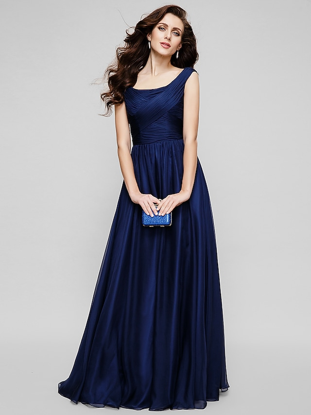 A-Line Minimalist Elegant Holiday Formal Evening Dress Scoop Neck Sleeveless Floor Length Chiffon with Ruched 2021
