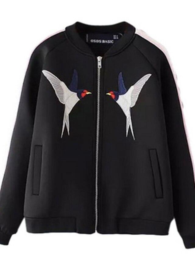 Для женщин На каждый день Весна Куртка V-образный вырез,просто С принтом Обычная Длинный рукав,Полиэстер