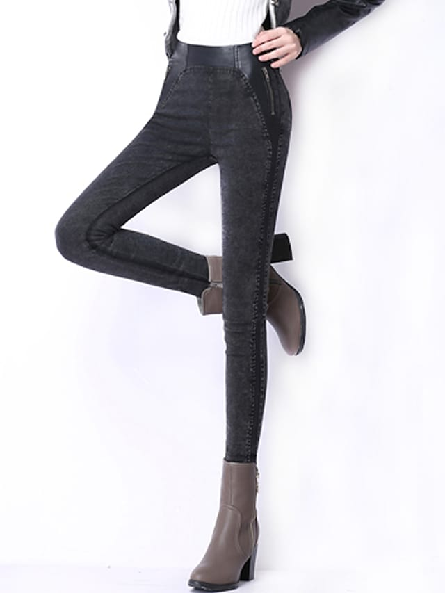 Women's Plus Size Skinny Jeans Pants Patchwork High Rise