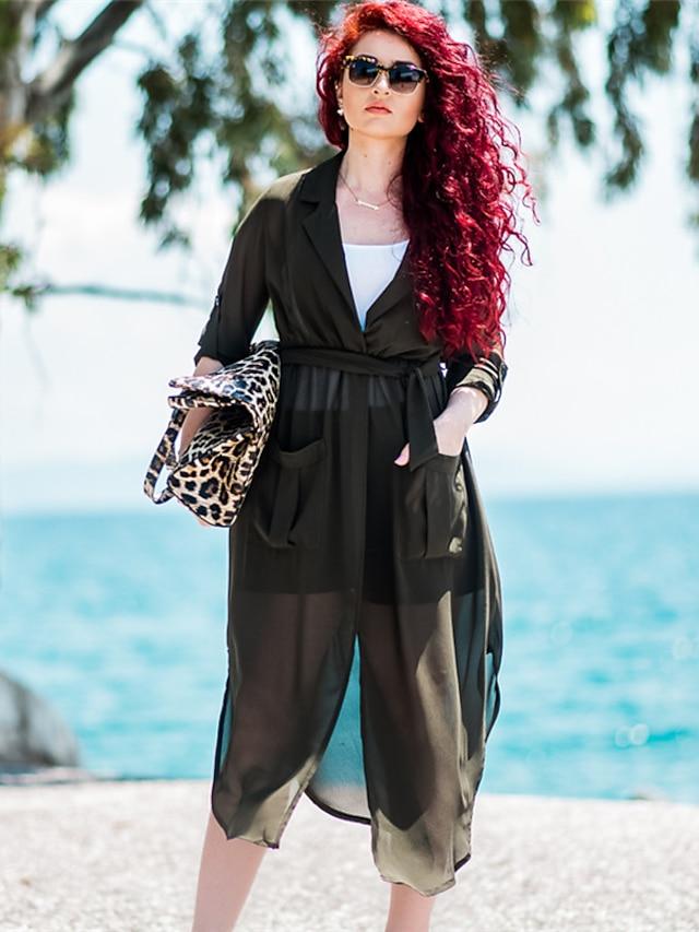 Kadın's Çalışma Pamuklu Salaş Elbise - Solid, Bölünmüş Derin V Maksi