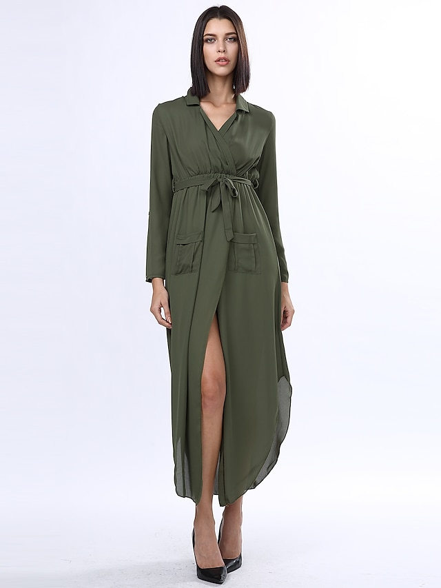 Women's Work Maxi Loose Dress - Solid Colored Split Deep V Fall Cotton Gray Army Green Camel M L XL