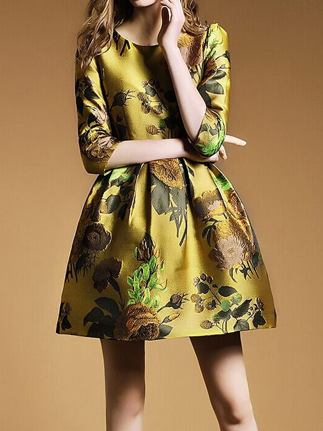 Boutique S Women's Formal Sophisticated Sheath Dress,Floral Round Neck Above Knee ½ Length Sleeve Yellow Rayon Spring