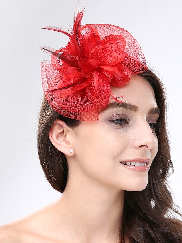 Feather / Net Fascinators / Headwear with Floral 1pc Wedding / Special Occasion / Tea Party Headpiece