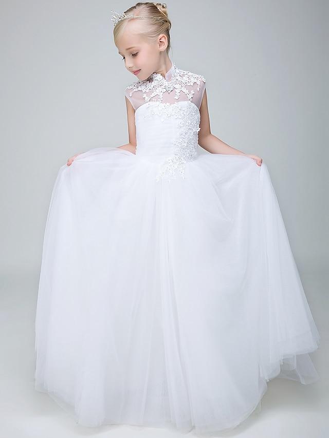ボールガウン アンクル丈 フラワーガールのドレス 結婚式 チュール ノースリーブ ハイネック 〜と ビーズ / 洗礼式