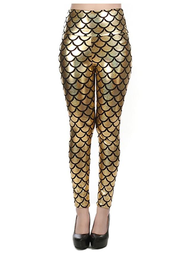 Dames Club Metallic Legging - Blokken, Print Medium Taille Fuchsia Goud Marine Blauw Een maat / Skinny